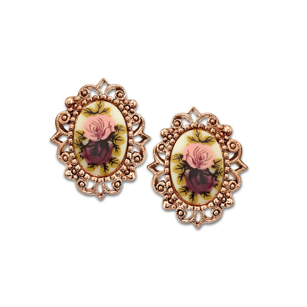 Rose Gold Tone Purple Flower Oval Button Earrings
