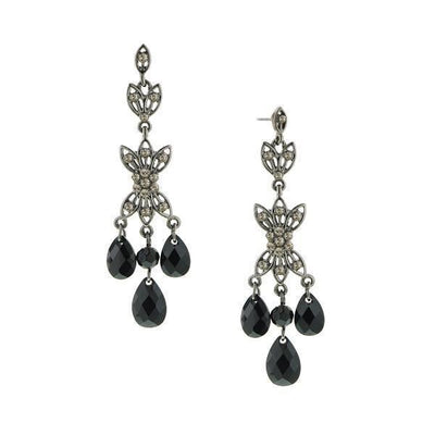 Jet/Black Diamond 3 Teardrop Earring