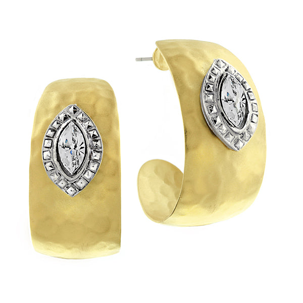 Gold Tone Crystal Hammered Hoop Earrings