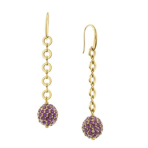 Gold-Tone Amethyst Linear Fireball Earrings