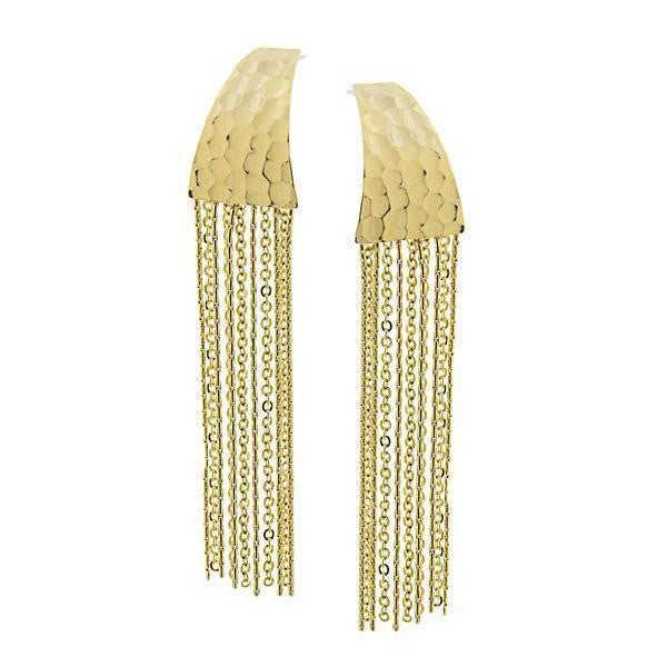 Gold Tone Hammered Chain Linear Tassel Earrings