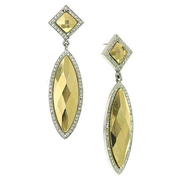 Silver-Tone Gold-Tone Stone Large 2 Part Marquise Earrings