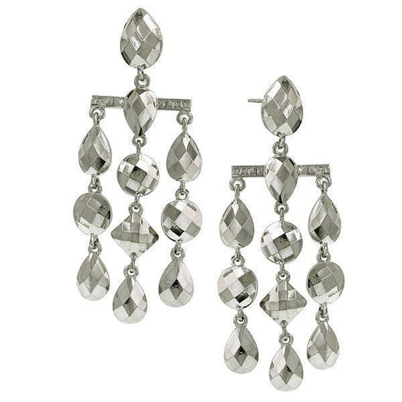 Silver Tone Droplet Chandelier Earrings