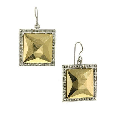 Silver Tone Gold Stone Large Square Earrings