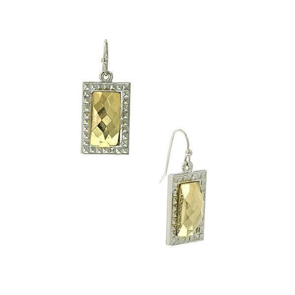 Silver Tone Gold Tone Stone Small Square Swing Earrings