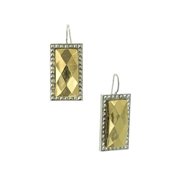 Silver Tone Rectangle Earrings