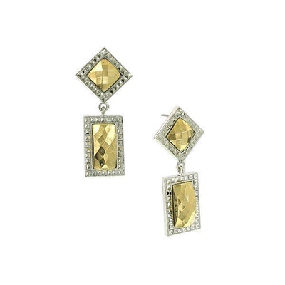 Silver Tone Gold Stone Double Drop Square Earrings