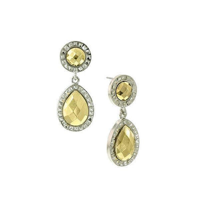 Silver Tone Gold Tone Stone Double Round Teardrop Earrings