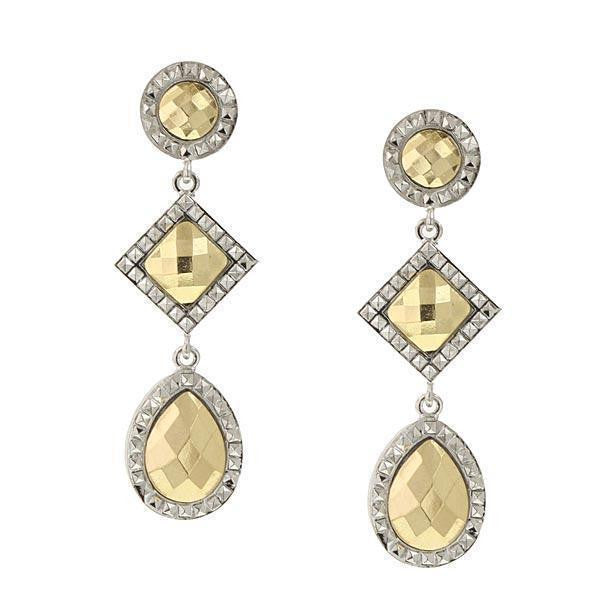Silver Tone Gold Tone Stone Triple Drop