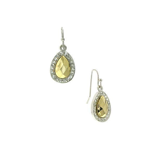 Silver Tone Gold Stone Small Teardrop Earrings