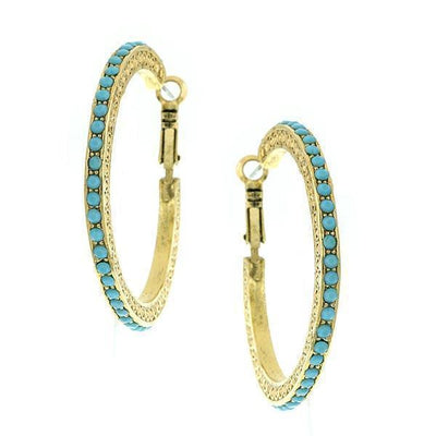 Gold Tone Green/Aqua Color Side Hoop Adorned Earrings