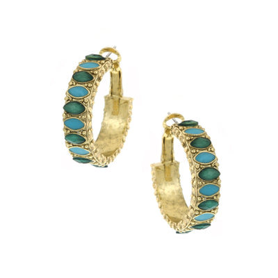 Gold Tone Green And Turquoise Color Hoop Click It Earrings