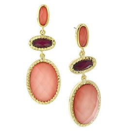 Gold Tone Raspberry/Peach Chandelier Earrings