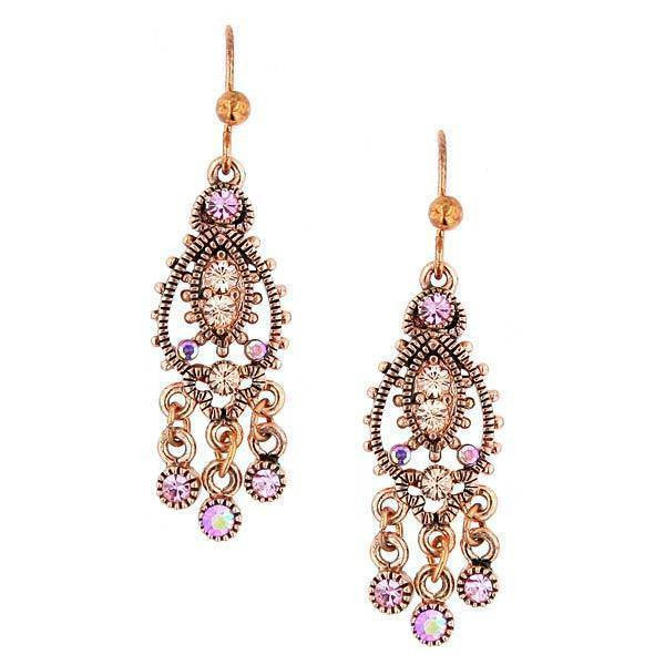 1928 Jewelry Rose Gold Light Peach & Light Rose AB Crystal Mini Chandelier Wire Earrings