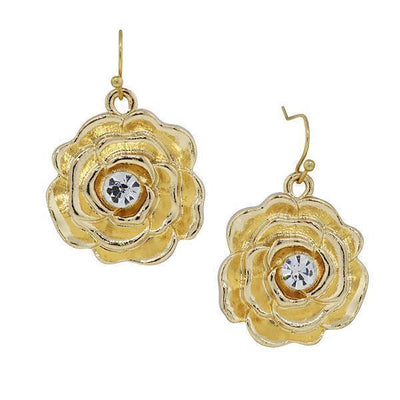 Gold Tone Crystal Accent Flower Drop Earrings