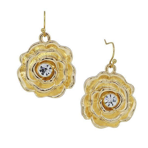 Gold-Tone Crystal Accent Flower Drop Earrings