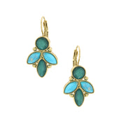 Gold Tone Green/Aqua Cluster Earrings