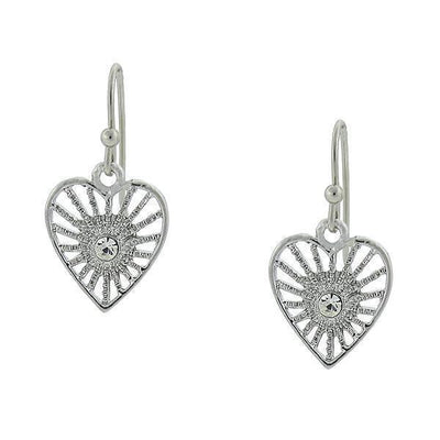 Silver-Tone Crystal Petite Filigree Heart Earrings