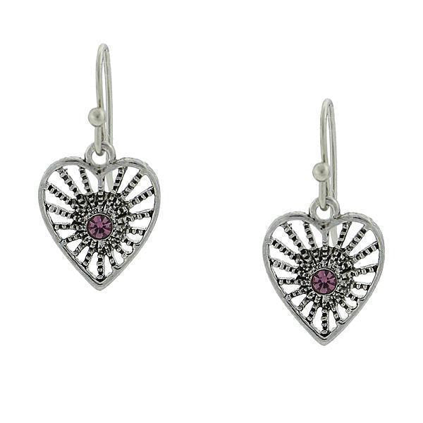 Antiqued Silver-Tone Amethyst Purple Petite Filigree Heart Earrings
