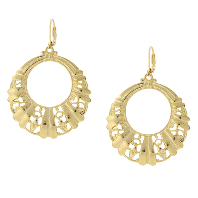 Gold-Tone Filigree Front Face Hoop Earrings