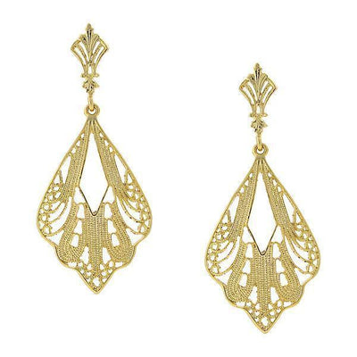 Gold Tone Filigree Drop Earrings