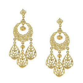 Fashion Jewelry - 2028 Gold Tone Filigree Chandelier Drop Earrings