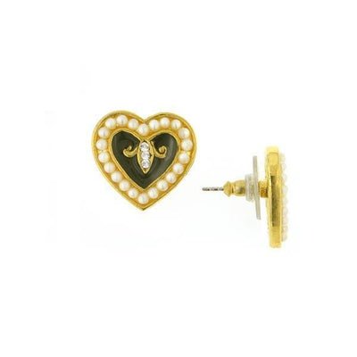 Gold Tone Black Enamel With Costume Pearl Crystal Hearts Post Earrings