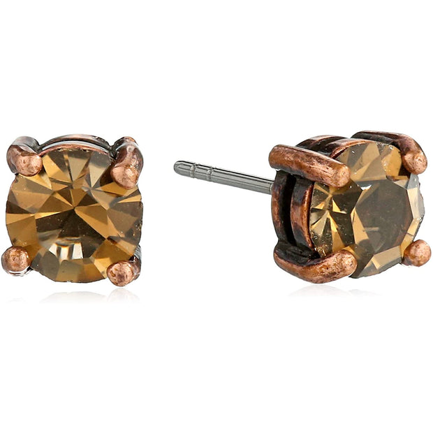 opper-Tone And Brown Topaz Color Stud Earrings