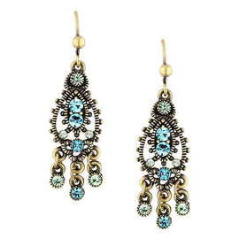 Gold-Tone Blue Chandelier Earrings