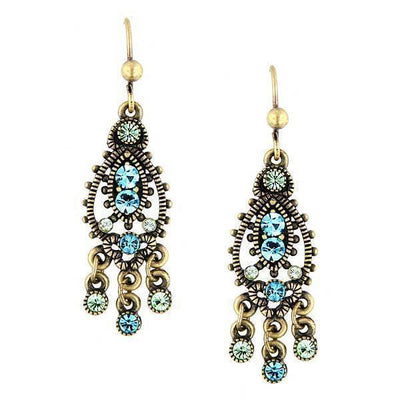 Gold Tone Blue Chandelier Earrings