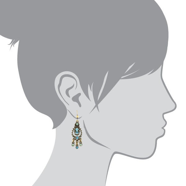 1928 Jewelry Gold-Tone Blue Chandelier Earrings