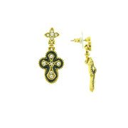 Gold Tone Crystal And Black Enamel Gothic Cross Drop Earrings