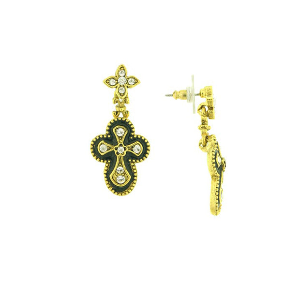 Gold-Tone Crystal and Black Enamel Gothic Cross Drop Earrings