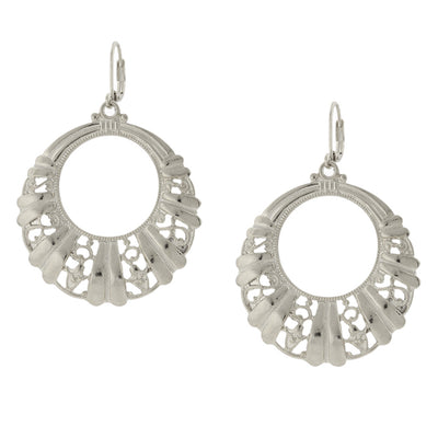 Silver-Tone Filigree Front Face Hoop Earrings