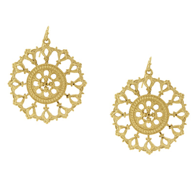 Gold-Tone Round Filigree Drop Earrings