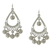 Silver Tone Pearshape Filigree Drop Earrings
