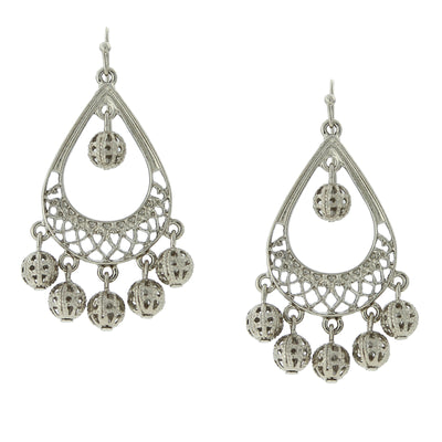 Silver-Tone Pearshape Filigree Drop Earrings