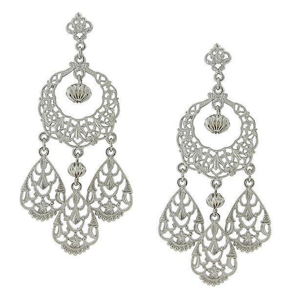 Fashion Jewelry - 2028 Silver Tone Filigree Chandelier Earrings