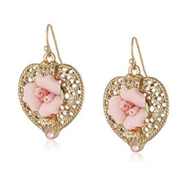 Gold-Tone Pink Crystal and Porcelain Rose Filigree Heart Clip Earrings