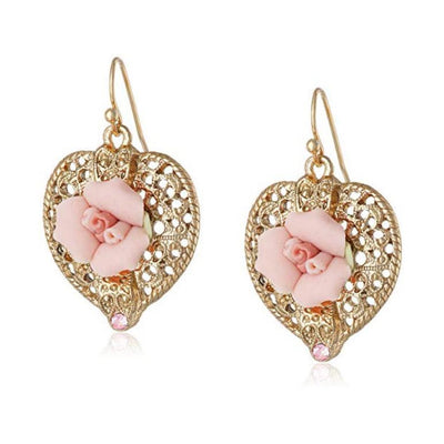 Gold-Tone Pink Crystal And Porcelain Rose Filigree Heart Earrings