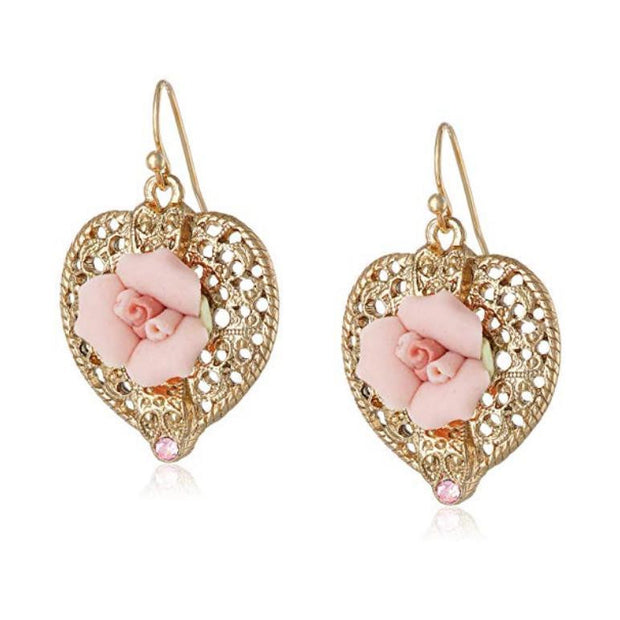 Gold Tone Pink Crystal And Porcelain Rose Filigree Heart Earrings