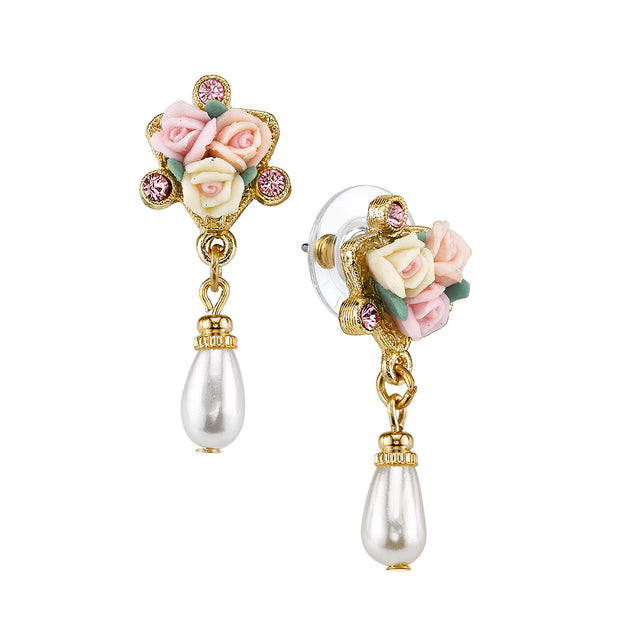 Crystal Ivory And Pink Porcelain Rose Costume Pearl Drop Earrings
