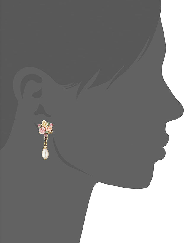 Gold Tone Pink Crystal And Porcelain Rose Faux Pearl Drop Earrings
