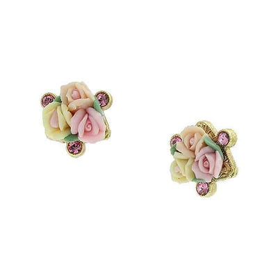 Gold Tone Pink Crystal And Ivory And Pink Porcelain Rose Button Earrings