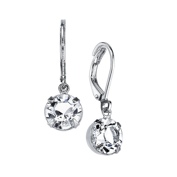 Silver Tone Genuine Swarovski Crystal Drop Earrings