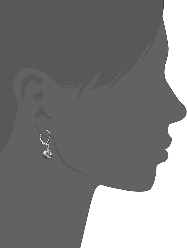 Round Genuine Swarovski Crystal Drop Earrings Silhouette