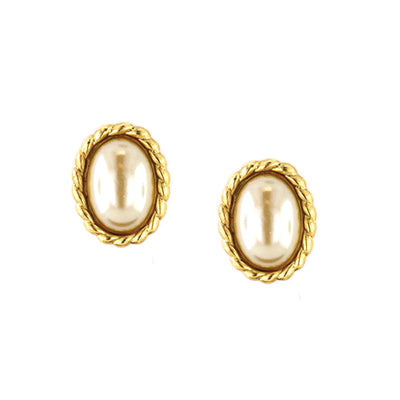 Gold Tone Costume Pearl Oval Button Earrings