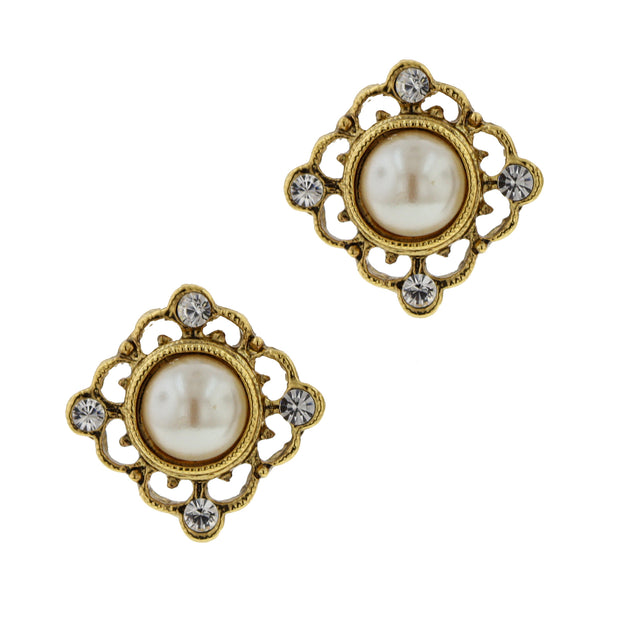 Gold Tone Costume Pearl Button Earrings