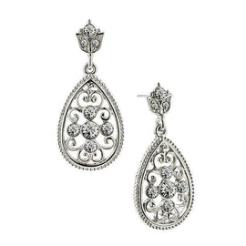 1928 Jewelry: 1928 Jewelry - Silver-Tone Crystal Filigree Pear-Shaped Drop Earrings