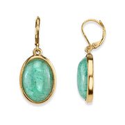 14K Gold Dipped Semi Precious Blue Lace Oval Drop Earrings